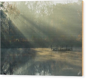Golden Sun Rays Wood Print
