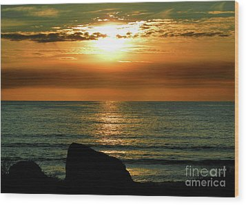 Wood Print featuring the photograph Golden Sunset At The Beach IIi by Mariola Bitner