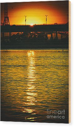Wood Print featuring the photograph Golden Sunset Behind Bridge by Mariola Bitner