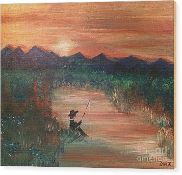 Wood Print featuring the painting Golden Sunset by Denise Tomasura