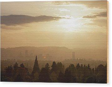 Golden Sunset Over Portland Skyline Wood Print by David Gn