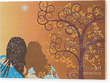 Wood Print featuring the digital art Golden Swirl Girls by Kim Prowse