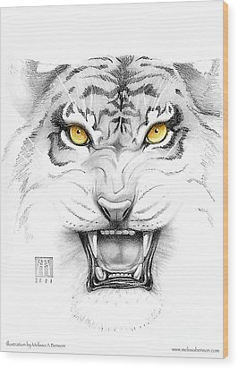 Golden Tiger Eyes Wood Print by Melissa A Benson