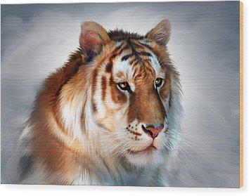 Golden Tiger Wood Print by Julie L Hoddinott