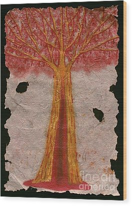 Golden Trees Crying Tears Of Blood Wood Print