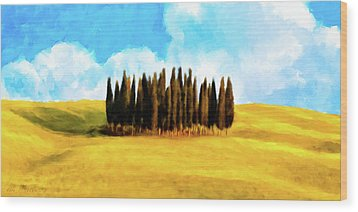 Wood Print featuring the mixed media Golden Tuscan Landscape Artwork by Mark Tisdale
