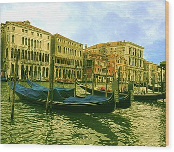 Wood Print featuring the photograph Golden Venice by Anne Kotan