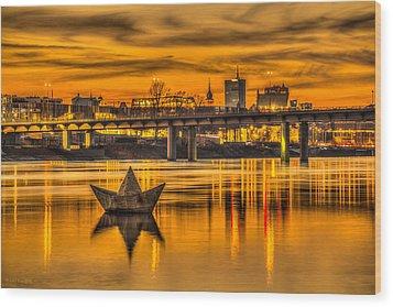 Golden Vistula Wood Print by Julis Simo