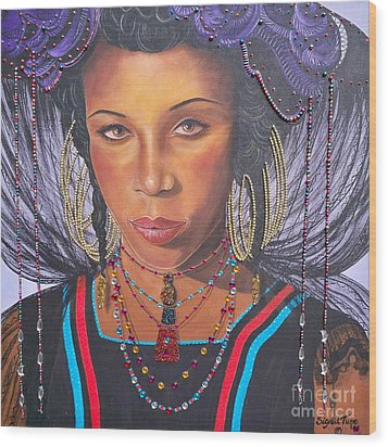 Wood Print featuring the painting Golden Wodaabe Girl by Sigrid Tune