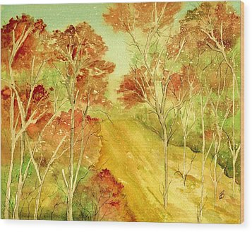 Golden Woods Wood Print