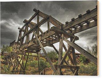 Goldfield Ghost Town - The Bridge  Wood Print by Saija  Lehtonen