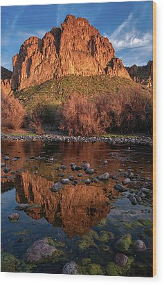 Wood Print featuring the photograph Goldfield Mountain Reflections Vertical by Dave Dilli