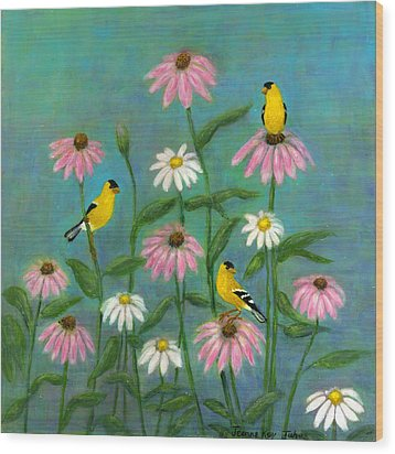 Goldfinch And Cone Flowers Wood Print