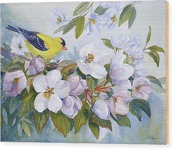 Goldfinch And Crabapple Blossoms Wood Print