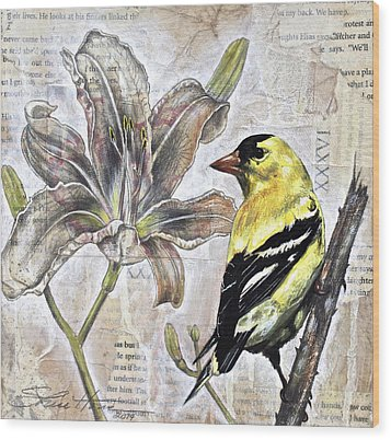 Goldfinch And Lily Wood Print by Sheri Howe