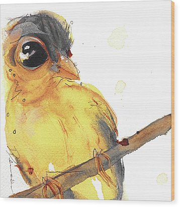 Wood Print featuring the painting Goldfinch by Dawn Derman