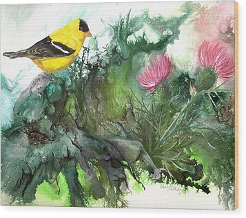 Wood Print featuring the painting Goldfinch by Sherry Shipley