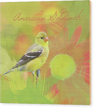 Wood Print featuring the photograph Goldfinch Watercolor Photo by Heidi Hermes