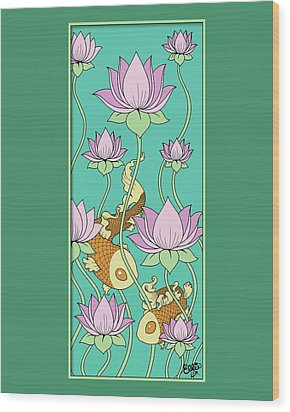 Goldfish And Lotus Wood Print by Eleanor Hofer