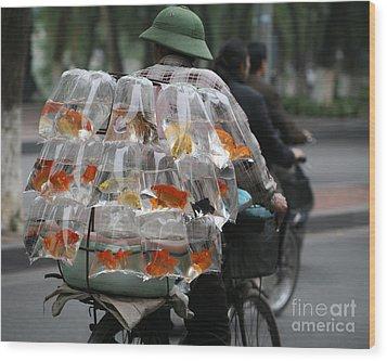 Goldfish In A Bag Wood Print