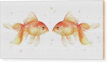 Goldfish Love Watercolor Wood Print by Olga Shvartsur