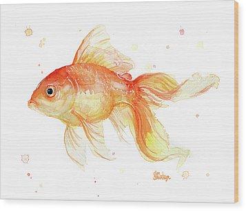 Goldfish Painting Watercolor Wood Print by Olga Shvartsur