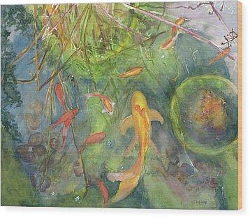 Goldfish Pond 1 Wood Print by Madeleine Arnett