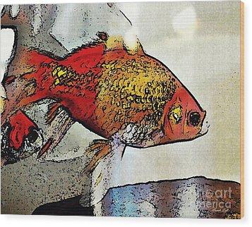 Goldfish Wood Print by Sarah Loft