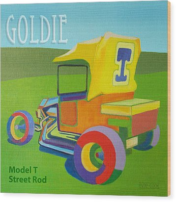 Wood Print featuring the painting Goldie Model T by Evie Cook