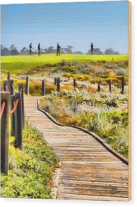 Wood Print featuring the photograph Golf At Pebble Beach by Kathy Tarochione