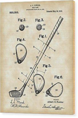 Golf Club Patent 1909 - Vintage Wood Print