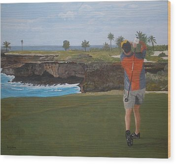 Golf Day Wood Print by Betty-Anne McDonald