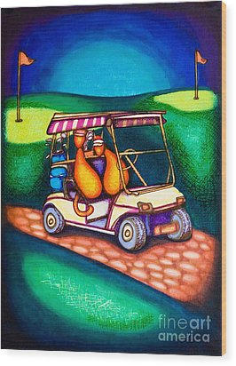 Golf Kats Wood Print by Laurie Tietjen