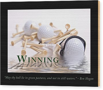 Golf Motivational Poster Wood Print by Tom Mc Nemar