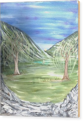 Golfing In Glacier Wood Print