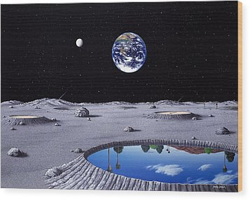 Golfing On The Moon Wood Print by Snake Jagger
