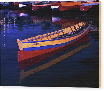 Gomier Canoe-st Lucia Wood Print by Chester Williams