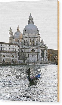 Gondola Alla Salute Wood Print by Marco Missiaja