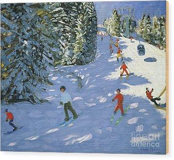 Gondola Austrian Alps Wood Print by Andrew macara