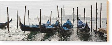 Gondole In Bacino 2078 Wood Print by Marco Missiaja