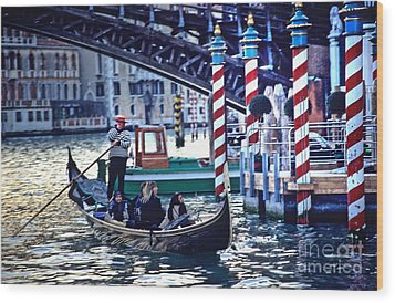 Gondola In Venice On Grand Canal Wood Print by Michael Henderson