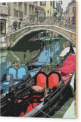 Gondolas Fresco  Wood Print by Mindy Newman
