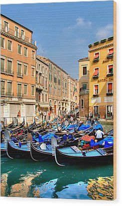 Gondolas In The Square Wood Print by Peter Tellone