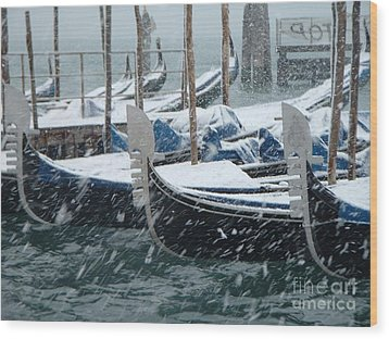 Gondolas In Venice During Snow Storm Wood Print by Michael Henderson