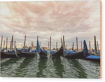 Wood Print featuring the photograph Gondolas In Venice by Melanie Alexandra Price