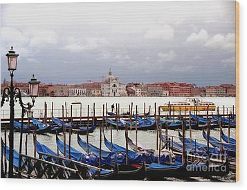 Gondolas In Venice Wood Print by Michael Henderson