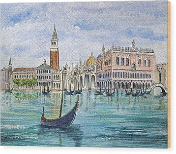 Gondolas Near Piazza San Marco In Venice Italy Wood Print by Bonnie Sue Schwartz