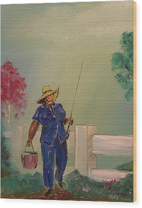 Gone Fishing Wood Print by Barbara Hayes