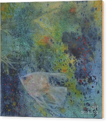 Wood Print featuring the painting Gone Fishing by Karen Fleschler