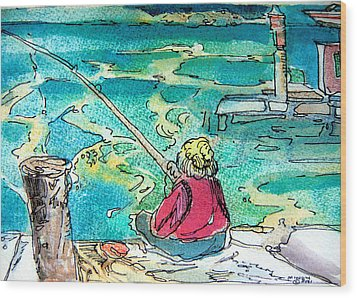 Gone Fishing Wood Print by Mindy Newman